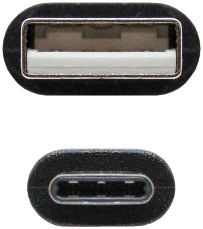 Nanocable - Cabo USB 2.0 3A Nanocable Tipo USB-C/M-A/M 1 M Preto