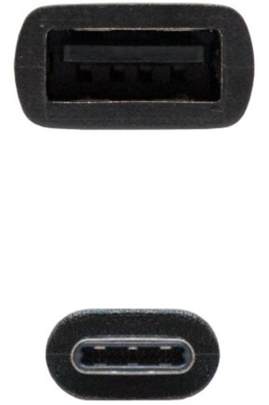 Nanocable - Cabo USB 2.0 3A Nanocable Tipo USB-C/M-A/F 15 CM Preto