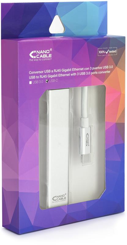 Nanocable - Docking Station Nanocable USB-C a Ethernet Gigabit + 3xUSB 3.0 15 CM Prateado