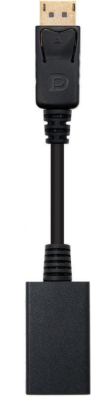 Conversor Nanocable Displayport Macho > HDMI Femea 15 CM Preto