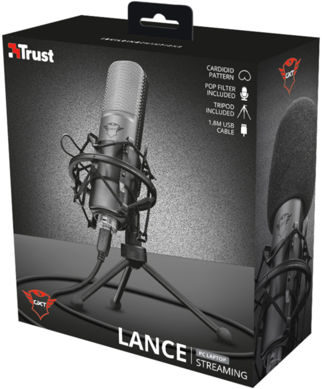 Trust - Microfone Trust Gaming GXT 242 Lance Streaming USB