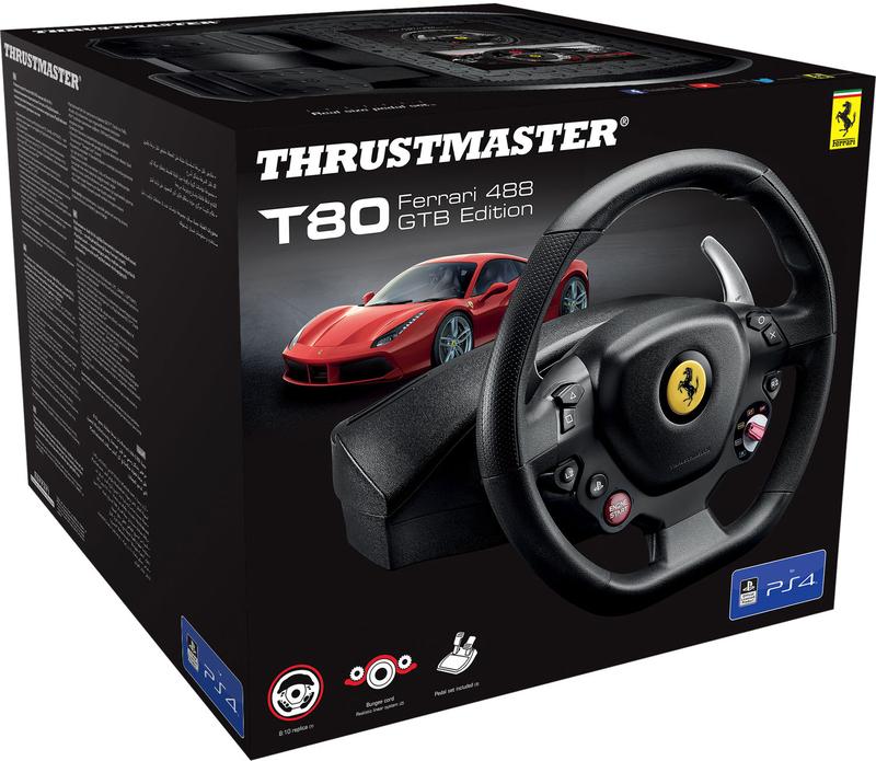 Thrustmaster - Volante + Pedais Thrustmaster T80 RW Ferrari 488 GTB - PS5 / PS4 / PC