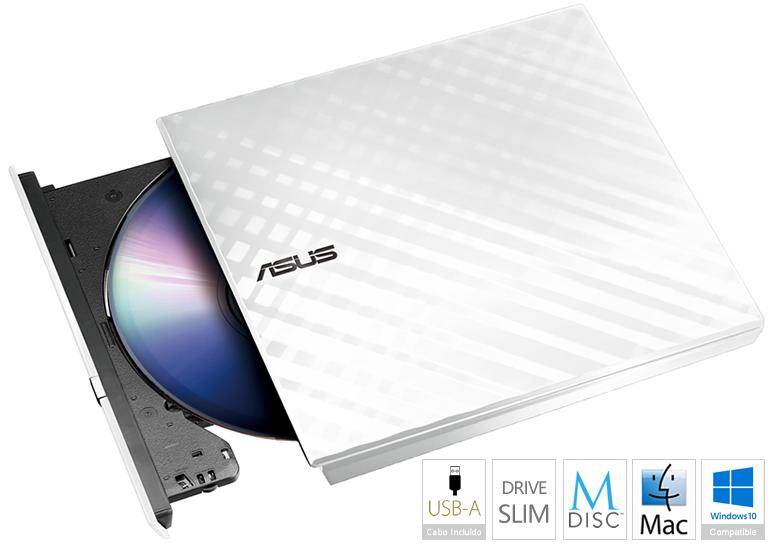 Drive Externa DVD±R Asus SDRW-08D2S-U Lite 8x Branco USB 2.0