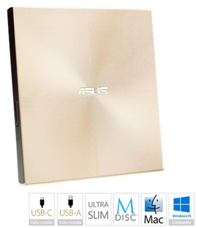 Drive Externa ASUS ZenDrive U9M Ultra-Slim USB Type C + Type A Dourado