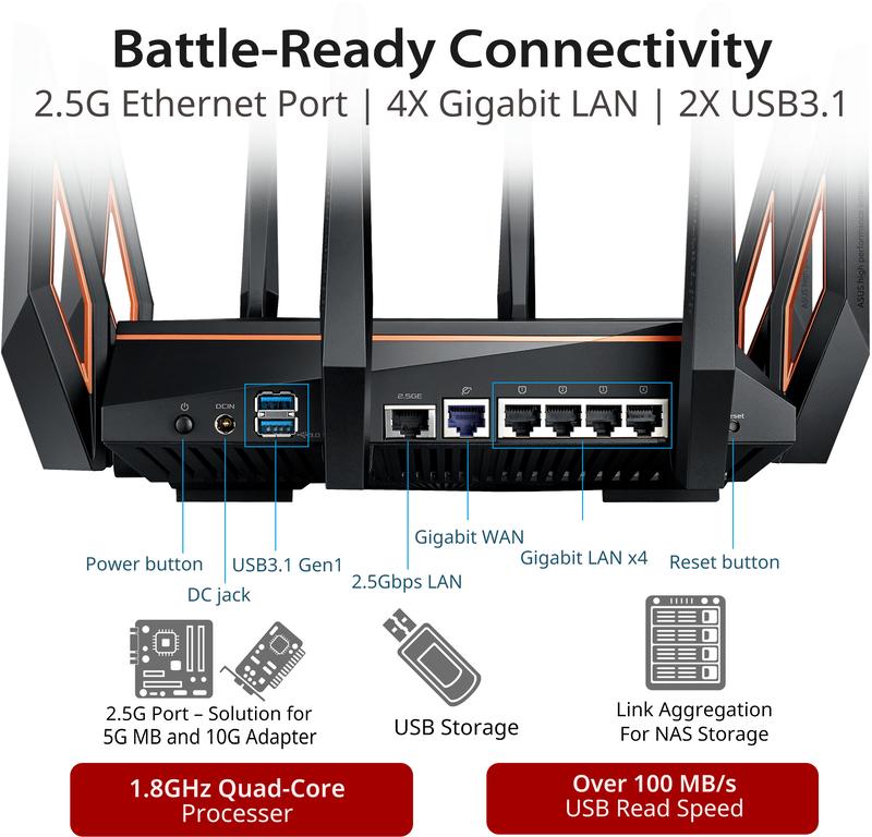 Asus - Router Asus GT-AX11000 Tri-Band AiMesh 10 Gigabit WIFI 6