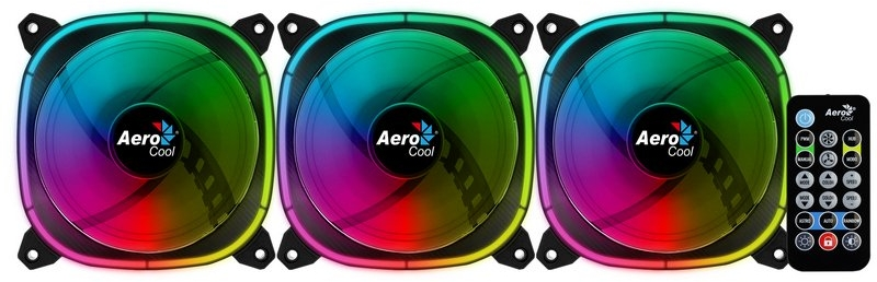 Aerocool - Ventoinha Aerocool Astro 12 OMNI ARGB Pack 3 com Controlador e HUB - 120mm