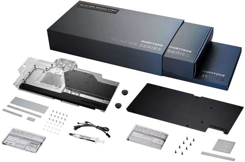 Phanteks - Bloco VGA Phanteks Glacier RX6900 com backplate, Asus Strix, ARGB - Preto