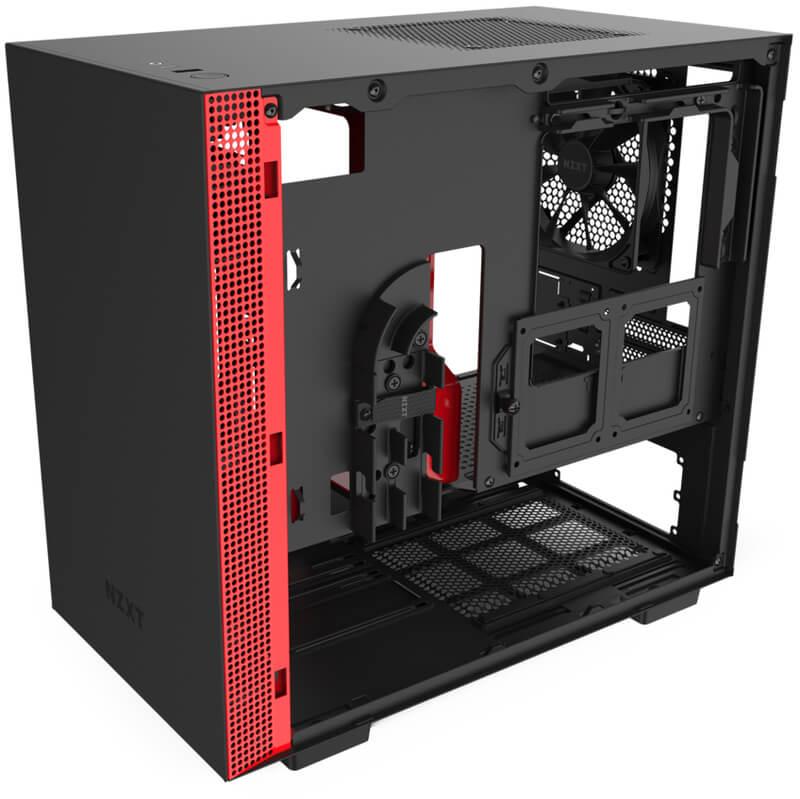 NZXT - Caixa Mini-ITX NZXT H210 Preto / Vermelho Mate