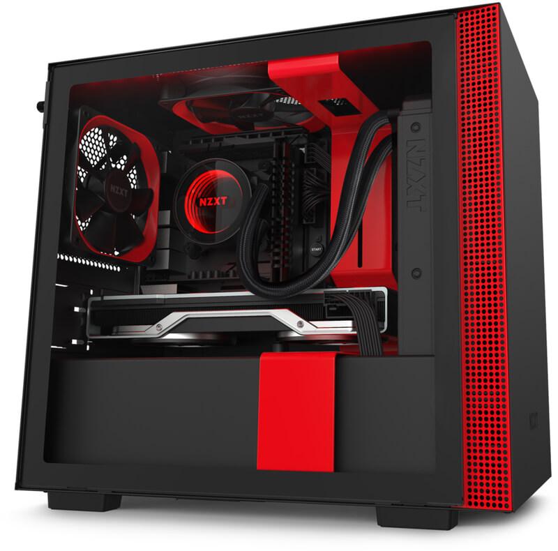 Caixa Mini-ITX NZXT H210i Preto / Vermelho Mate