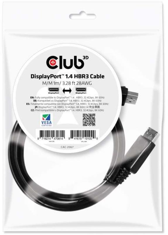 Cabo Club3D DisplayPort 1.4 HBR3 8K60Hz 3 Metros