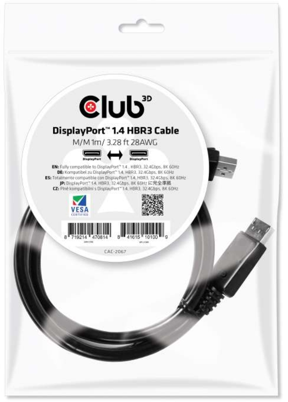 Cabo Club3D DisplayPort 1.4 HBR3 8K60Hz 4 Metros