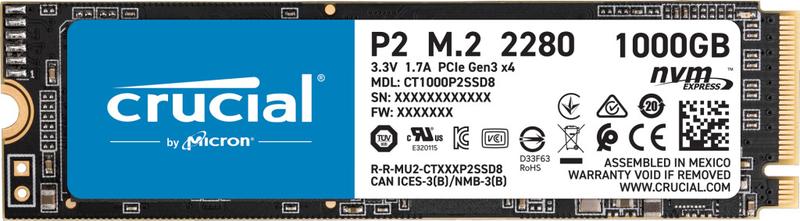 Crucial - Disco SSD Crucial P2 1TB 3D M.2 NVMe 2280