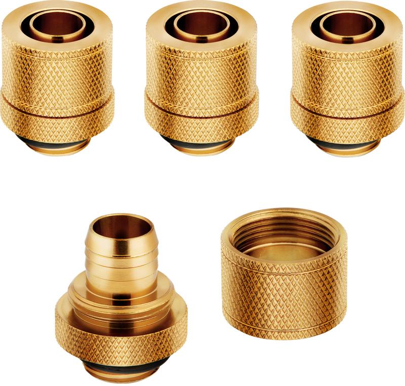 Corsair - Conectores Corsair Hydro X Series XF Compression G1/4 Macho / Femea 13/10mm Pack 4 - Dourado