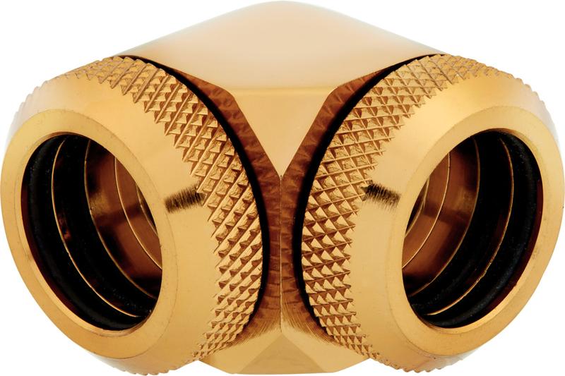 Corsair - Conectores Corsair Hydro X Series XF Hardline 90º Femea / Femea 14 mm Pack 2 - Dourado