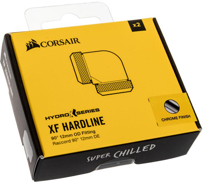 Corsair - Conectores Corsair Hydro X Series XF Hardline 90º Femea / Femea 12 mm Pack 2 - Cromado