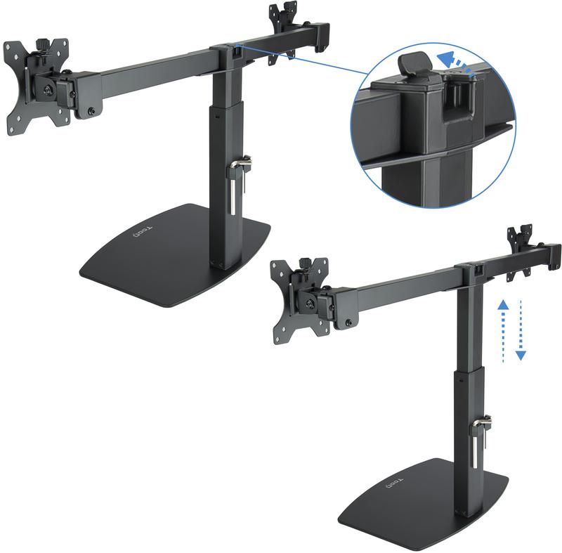 """Tooq - Suporte Pedestal Tooq Duplo Tilt e Altura Ajustável 17"""" a 27"""" Max. 6kg/Monitor Preto"""