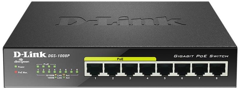D-Link - Switch D-Link DGS-1008P 8 Portas (4 x POE) + 68W Power Budget