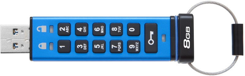 Kingston - Pen Kingston DataTraveler 2000 KeyPad 256bit AES Encrypted 8GB USB3.0