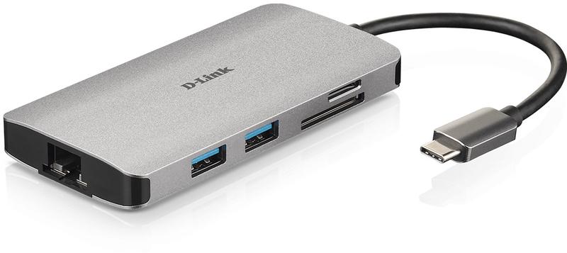 D-Link - Docking Station D-Link USB C Macho >  3 x USB 3.0 Tipo A Femea + 1 x HDMI + Leitor Cartões (Micro SD + SD) + 1 x USB-C (até 100W)