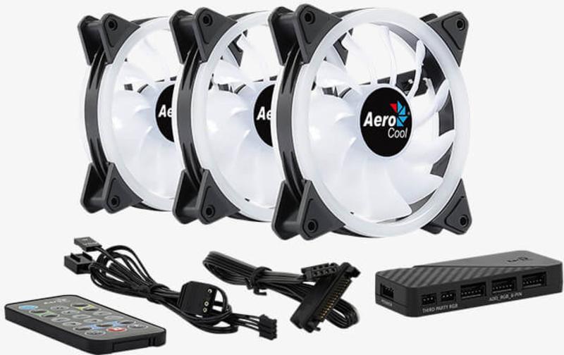 Aerocool - Ventoinha Aerocool Duo 12 ARGB Pack 3 com Controlador e HUB - 120mm