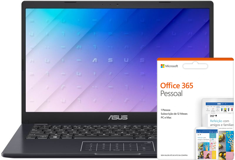 "Portátil Asus Laptop 14"" E410MA N4020 4GB 64GB W10 com Office 365"