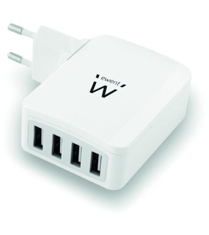 Carregador Tomada Ewent 4 Portas USB 5.4A (27W) Branco