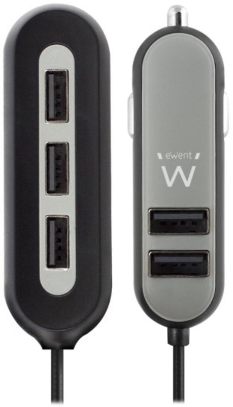 Carregador Isqueiro Ewent 5 Portas USB 10.8A Preto com Clip