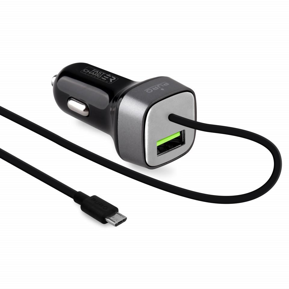 Carregador Isqueiro puro Fast Charge 2.4A 12W USB Preto
