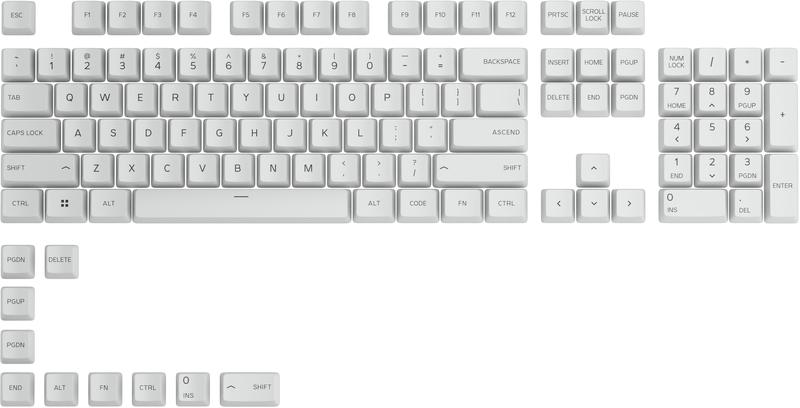 Glorious PC GR - Key Caps Glorious PBT White (US ANSI)