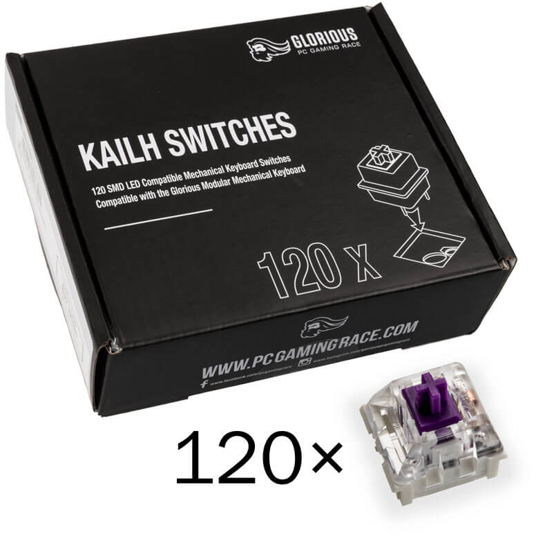 Pack 120 Switches Kailh Pro Purple para Glorious PC Gaming Race GMMK