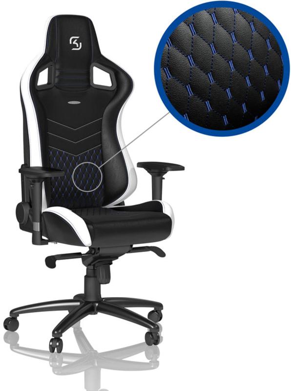 Cadeira noblechairs EPIC PU Leather SK Gaming Edition Preto / Branco / Azul