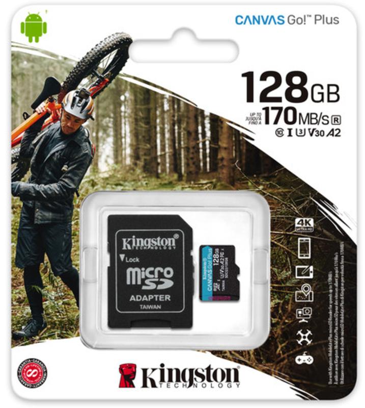 Kingston - Cartão Kingston Canvas Go! Plus MicroSDXC UHS-I U3 V30 A2 128GB