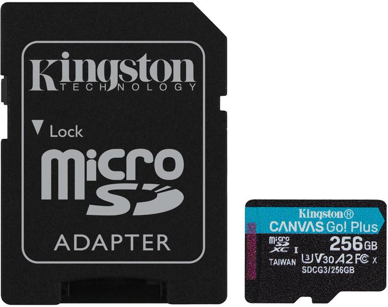 Cartão Kingston Canvas Go! Plus MicroSDXC UHS-I U3 V30 A2 256GB
