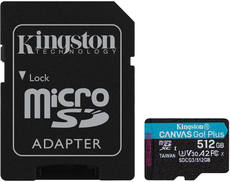 Cartão Kingston Canvas Go! Plus MicroSDXC UHS-I U3 V30 A2 512GB