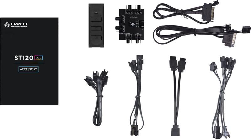 Lian Li - Ventoinha Lian Li ST120 RGB PWM Pack 3 + Controlador Preto 120mm