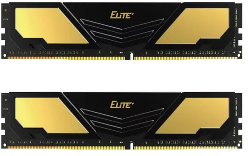 Team Group - Team Group Kit 8GB (2 x 4GB) DDR4 2666MHz Elite Plus Preto / Dourado CL19