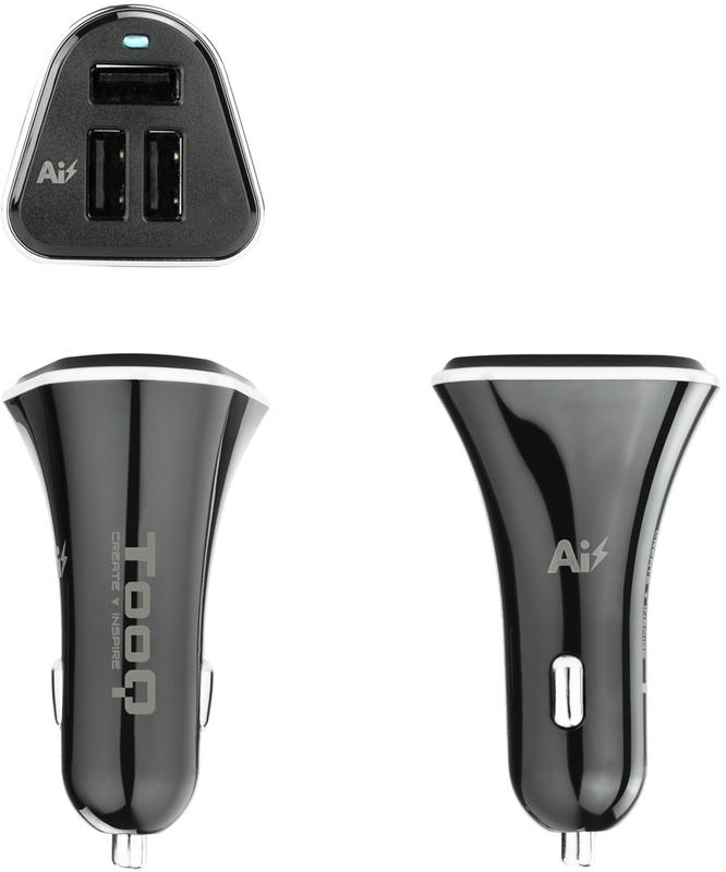 Tooq - Carregador de Isqueiro Tooq 3x USB 5V/5.2A Preto