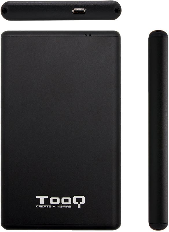 """Tooq - Caixa HDD Tooq 2.5"""" SATA (9,5mm) - USB C 3.1 Aluminio Preto"""