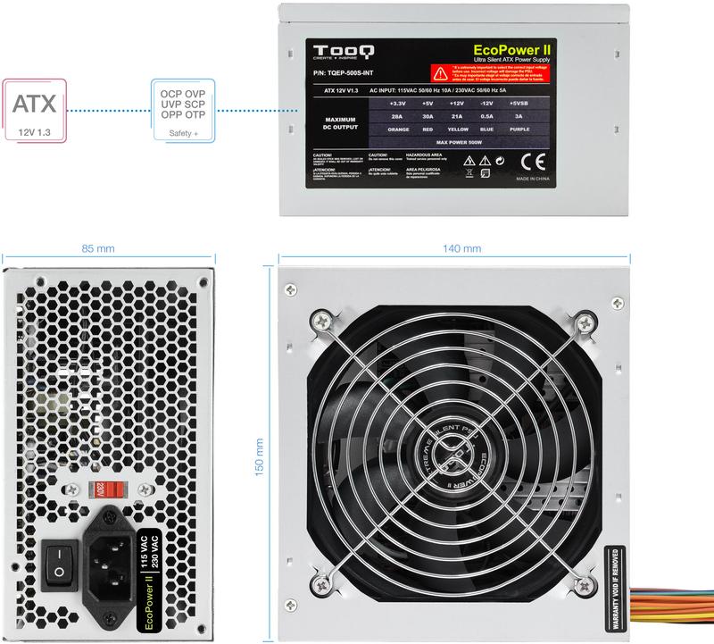 Tooq - Fonte Tooq EP-II TQEP-500S-INT 500W