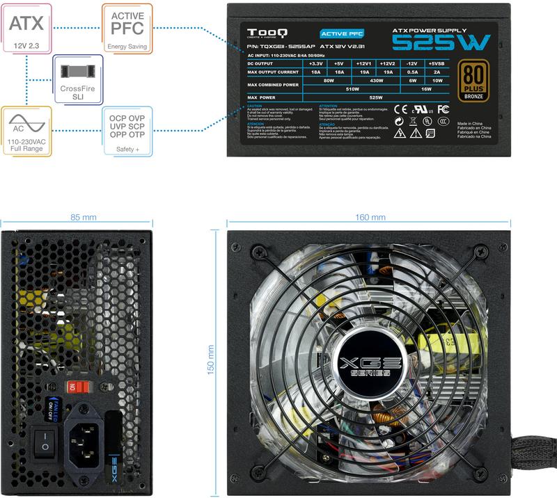 Tooq - Fonte Tooq TQXGEII-525SAP 525W 80+ Bronze LED